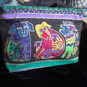 Laurel Burch canvas tote, colorful dogs, nwt